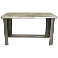 Industrial Machine Age Brushed Steel Work Table Desk