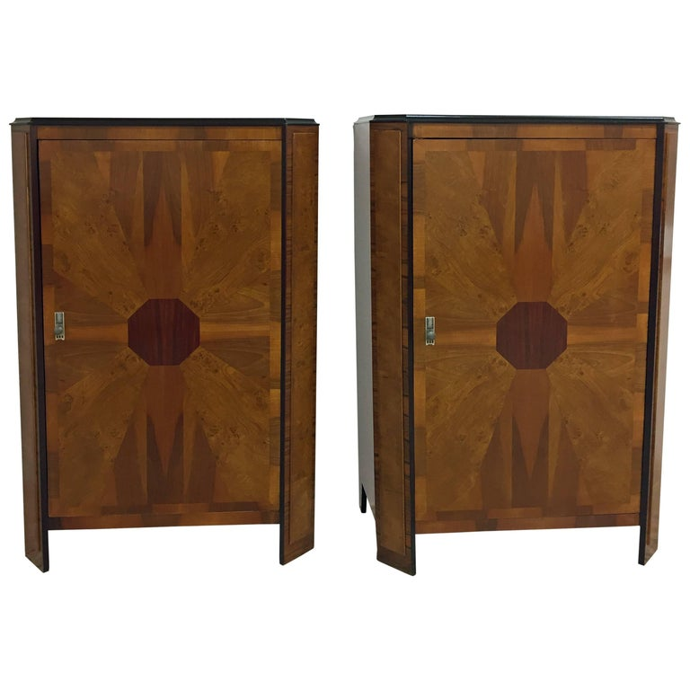 Art Deco Pair of Inlaid Cabinets