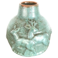 Michael Andersen Stoneware Vase with Green Glaze, 1930s from Denmark
