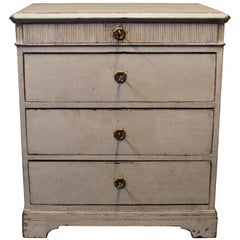 Small Gray Painted Chest of Drawers in Gustavian Style from the 1880s