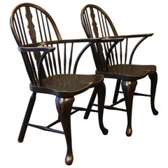 Pair of Black Painted Windsor Armchairs in Wood from the 1880s