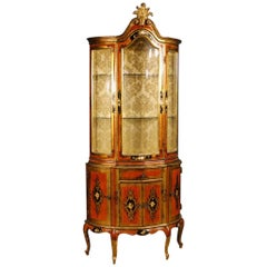 20th Century, Italian Lacquered and Gilt Display Cabinet