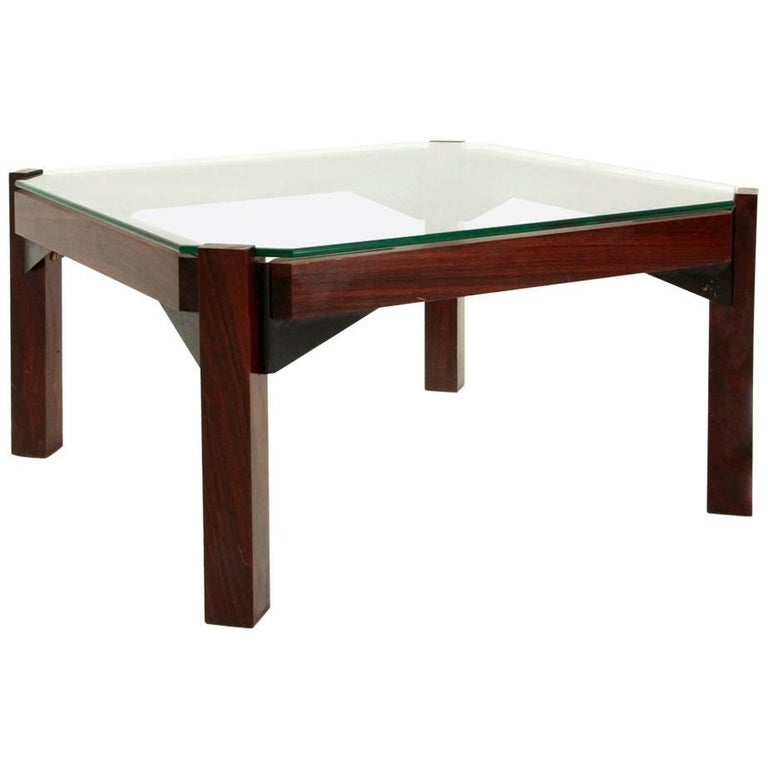 Italian Glass Coffee Table.Italian Rosewood And Glass Coffee Table