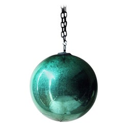 Good Large Green Mercury Glass Witches Ball, circa 1900