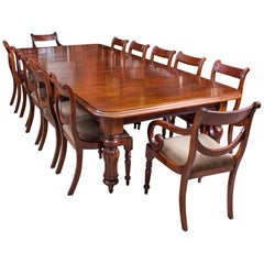 Antique D End Mahogany Dining Table and Ten Chairs