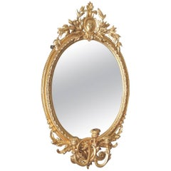 Gilded Three-Light Girandole Mirror