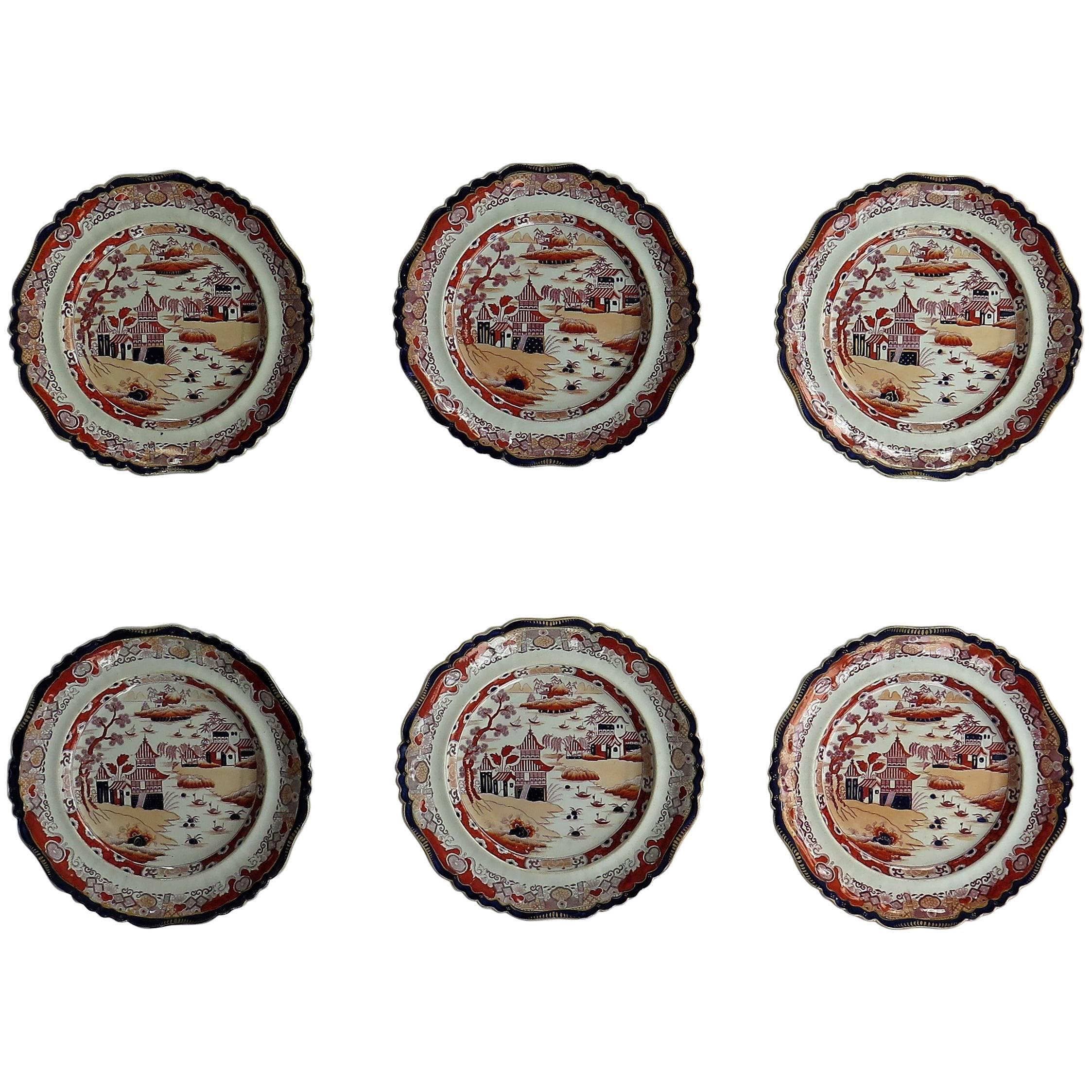 SIX Mason's Ashworth's Ironstone Large Dinner Plates Chinoiserie, Circa 1865