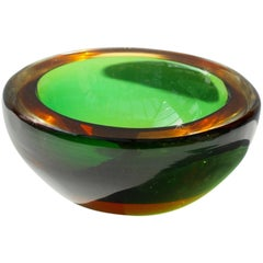 Vintage Green & Amber Murano 'Sommerso' Art Glass Bowl Attributed to Flavio Poli