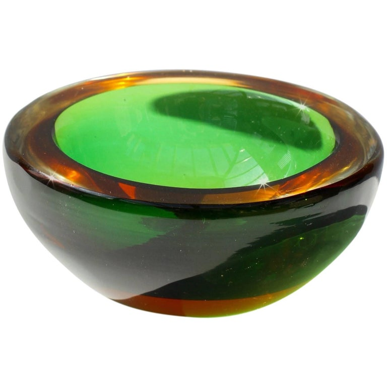 Vintage Green And Amber Murano Sommerso Art Glass Bowl