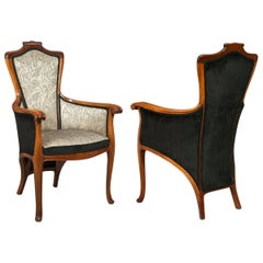 Edouard Colonna, Pair of Art Nouveau Carved Walnut Armchairs