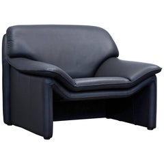 Laauser Atlanta Designer Armchair Leather Black Two-Seat Couch Modern