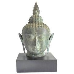 Large 19th Century Bronze Thai Buddha Head Sculpture