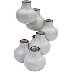 "Mid-Century Vintage Italian White Ceramic ""Spiral"" Vase, circa 1970s"