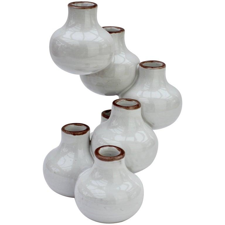 """Italian White Ceramic """"Spiral"""" Vase, circa 1970s"""