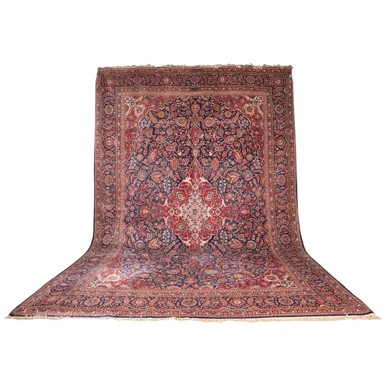 19th century huge carpet keshan rug for sale at 1stdibs. Black Bedroom Furniture Sets. Home Design Ideas