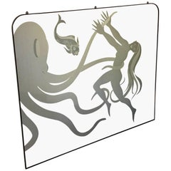 Large 1950s Decorative Mirror 'the Octopus and the Maiden'