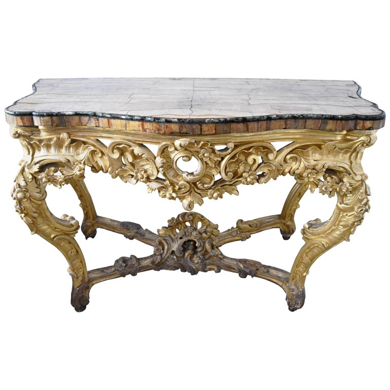 18th Century, French Gold Guilted Console Table with Fossilized Marble Top