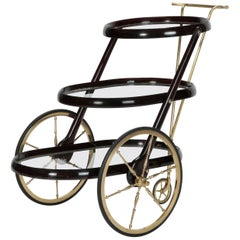 Cesare Lacca Bar Cart Mahogany, 1950s