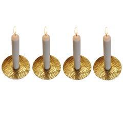 Handmade Brass Leaf Candleholder, Tapered Candles