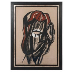 Charcoal Drawing Black, Beige, Red and White Michel Batlle 1987 Handworked Frame