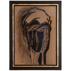 Charcoal Drawing Black-Beige Michel Batlle 1987 Handworked Frame, Museums Glass