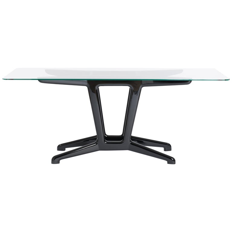 Midcentury Italian Dining Table / Desk with Re-Lacquered Wooden Base in Black