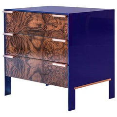 Johansson Cabinet, Small, Blue Lacquered Aluminum and Walnut Burl, Copper Pulls