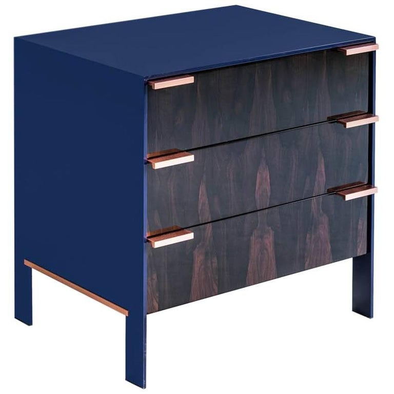 Johansson Cabinet / End Table, Deep Violet Lacquered Aluminum, Ziricote, Copper For Sale