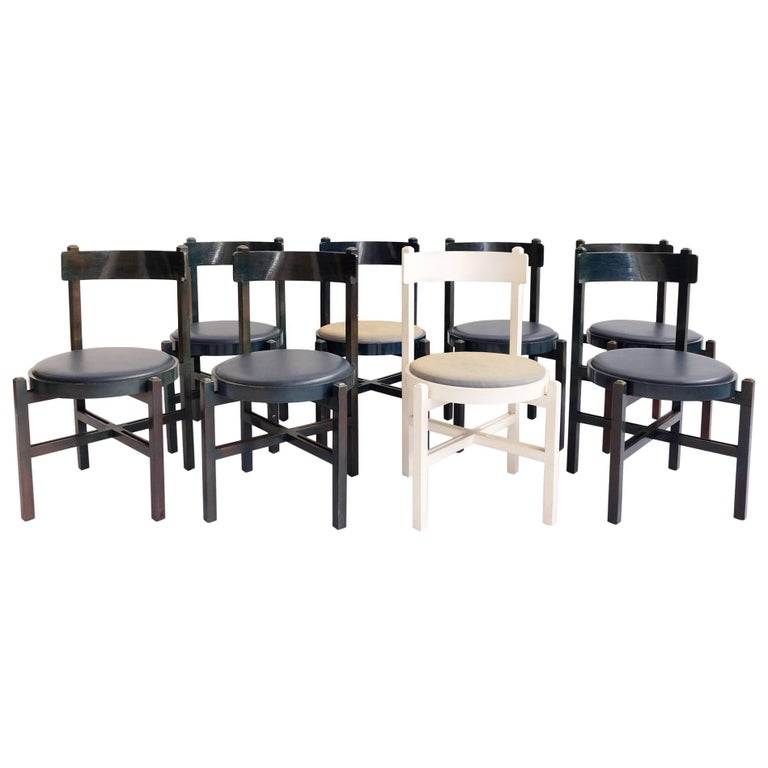 Set of eight Super Rare Chairs Attributed to Gianfranco Frattini, Cassina, 1962
