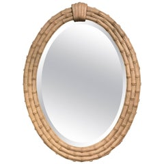 Faux Bamboo Oval Beveled Wall or Console Mirror
