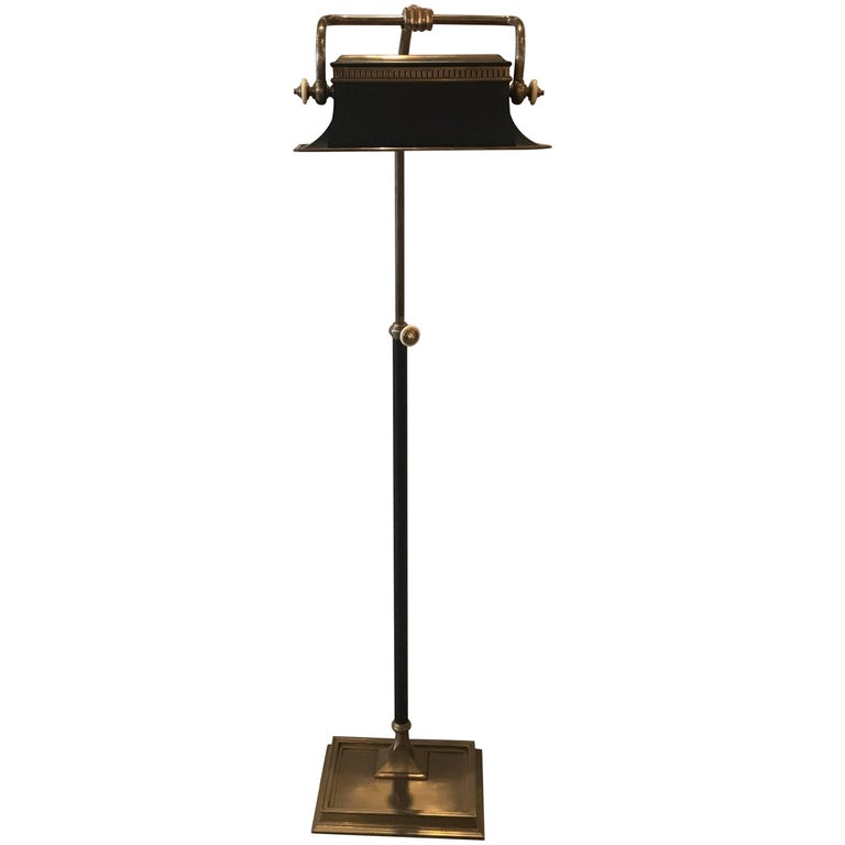 Patinated Brass and Tole Chapman Floor Lamp