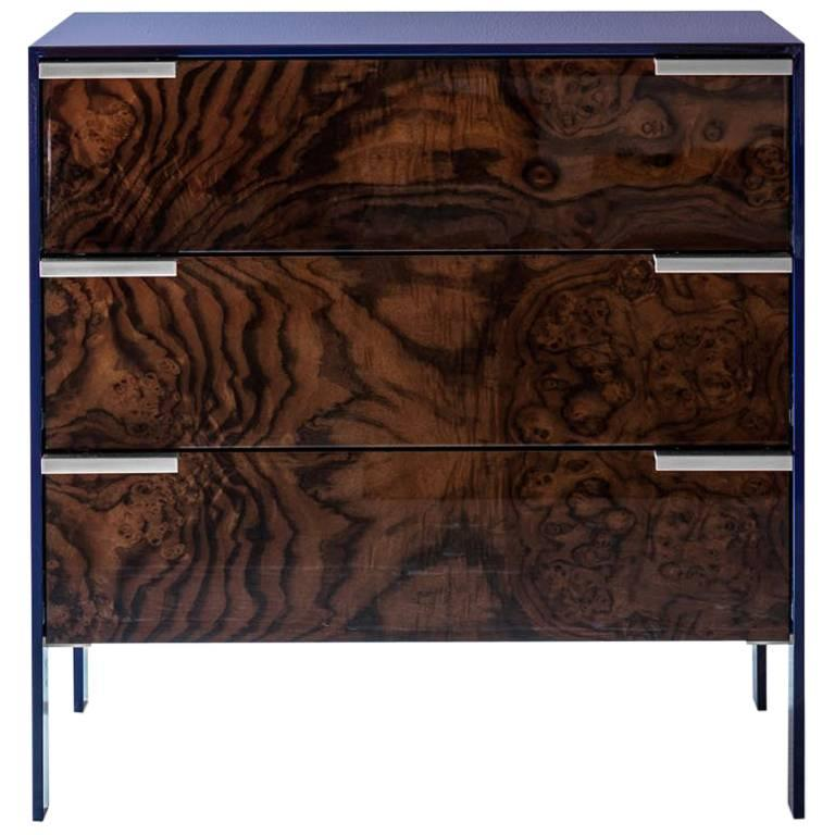 Johansson Cabinet / End Table in Blue Lacquered Aluminum, Walnut Burl, Nickel  For Sale