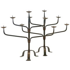 Pair of 1930s French Iron Candelabras