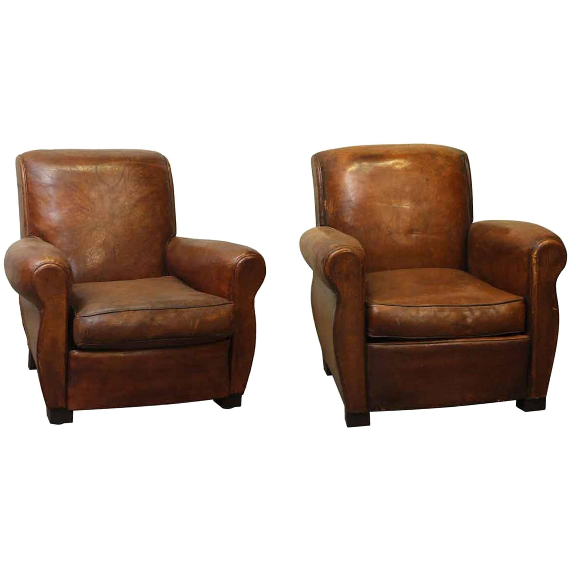 1980s French Vintage Pair Of Leather Vintage Club Chairs 1
