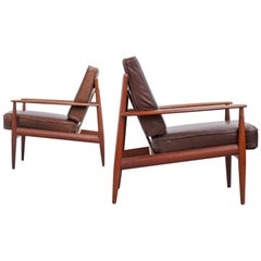 Grete Jalk Pair of Lounge Chairs Danish Teak