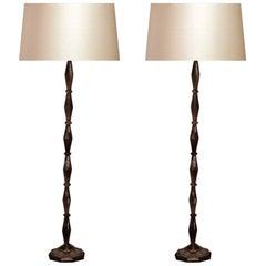 Fine Carved Smoky Grey Crystal Floor Lamp