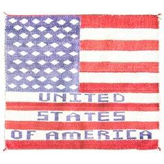 Pictorial U.S. Flag Navajo Rug