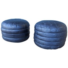 Pair of De Sede Black Leather Patchwork Ottomans