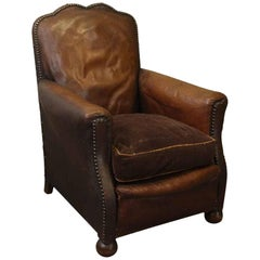 1940s French Single Vintage Brown Leather Club Chair
