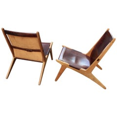 Pair of Hunting Chairs by Uno & Östen Kristiansson, Solid Oak and Leather
