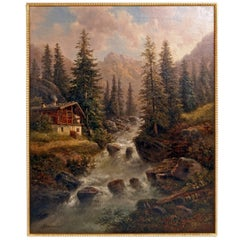 Painting Oil on Canvas Landscape High Mountains Gustav Barbarini Vienna, 1880
