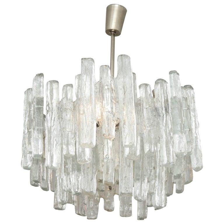 Vintage Kalmar Ice Glass Chandelier