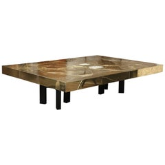Custom Spectacular Etched Brass and Double Agate Rectangular Cocktail Table
