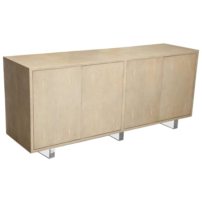 Genuine Shagreen Sideboard Floating on Acrylic Base 1