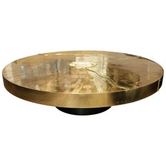 Spectacular Round Etched Brass and Agate Cocktail Table