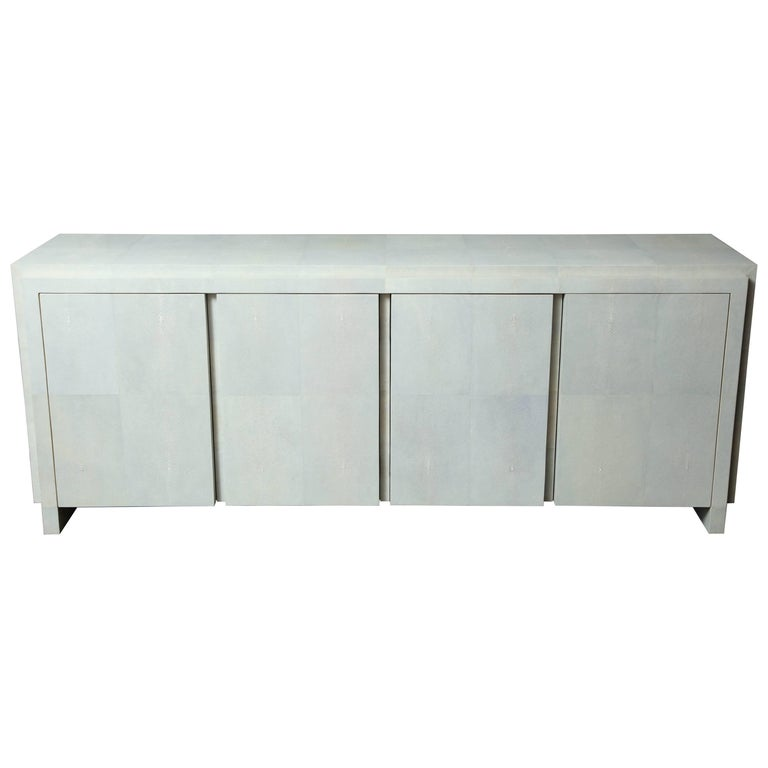 Spectacular Genuine Shagreen Sideboard in Pale Water Grey