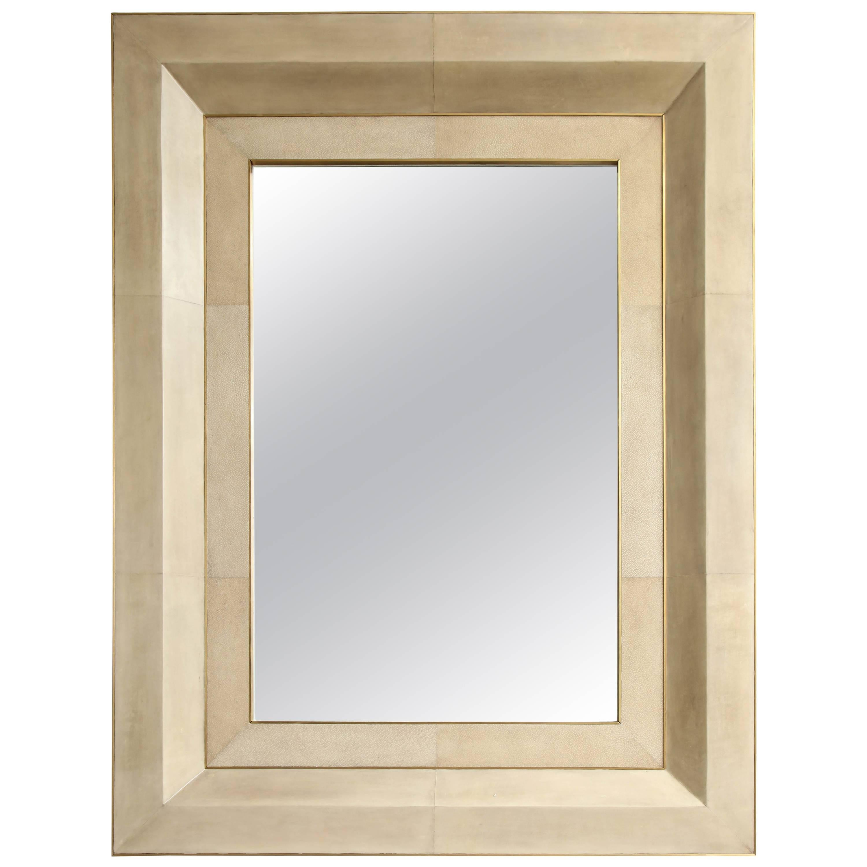 Chic Goatskin Mirror with Brass Trim