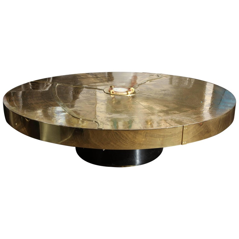 Spectacular Round Etched Brass Cocktail Table with Agate Stone For Sale