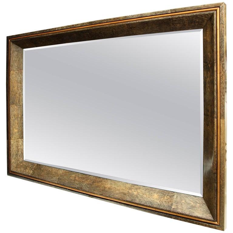 Enormous Coco Fiber Mirror With Orange Goatskin Insert For