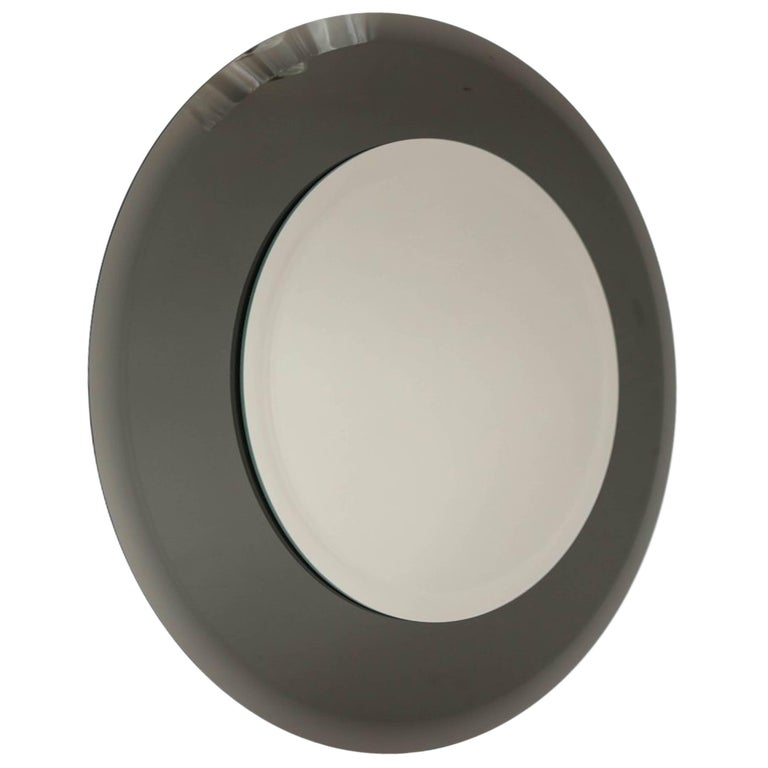 Grey Glass Round Mirror in the Style of Karl Springer For Sale